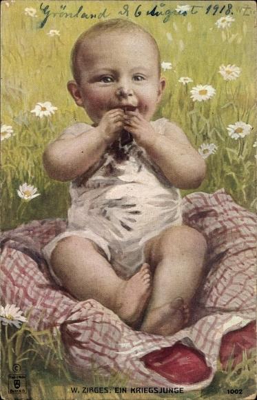 Künstler Ak Zirges, Ein Kriegsjunge, Kleinkind auf einer Wiese