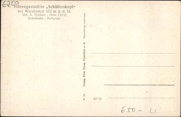 Tischler Wiesbaden ak wiesbaden in hessen gaststätte schläferskopf inh a tischler