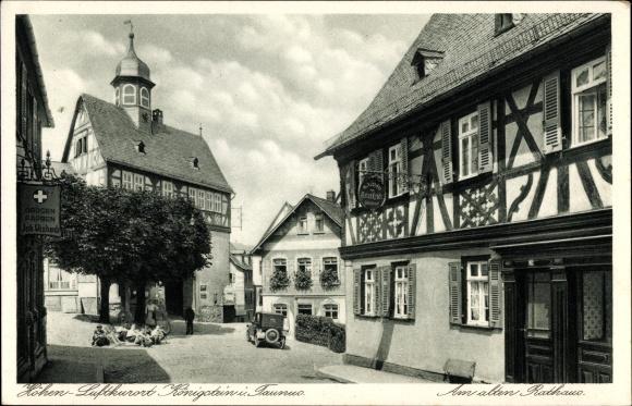 Ak Königstein im Taunus Hessen, Partie am alten Rathaus