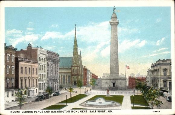 Ak Baltimore Maryland USA, Mount Vernon Place and Washington Monument