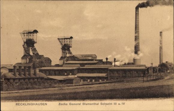 Ak Recklinghausen im Ruhrgebiet, Zeche General Blumenthal, Schacht III und IV