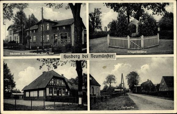 Ak Husberg Bönebüttel in Schleswig Holstein, Bäckerei und Kolonialwaren Gustav Gier, Schule, Denkmal