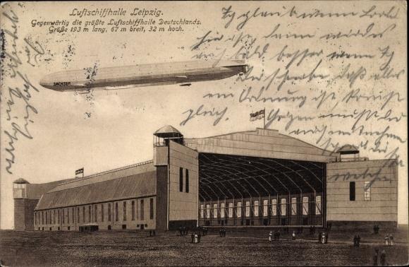 Ak Leipzig in Sachsen, Luftschiffhalle Leipzig, Zeppelin Sachsen