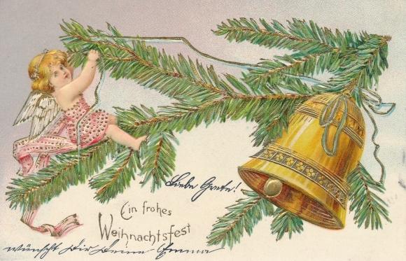 ak frohe weihnachten engel mit tannenzweig wesolych. Black Bedroom Furniture Sets. Home Design Ideas