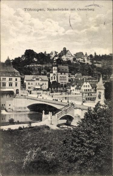 Ak Tübingen am Neckar Baden Württemberg, Blick zur Neckarbrücke mit Oesterberg