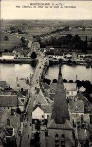 Ak Montrichard Loir et Cher, Vue Generale du Pont sur le Cher et Faverolles