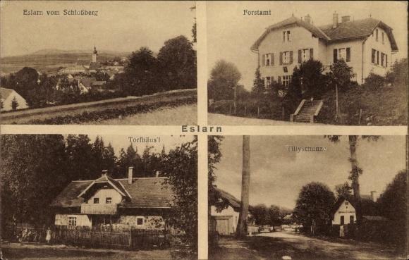 Ak Eslarn in der Oberpfalz Bayern, Gesamtansicht vom Schlossberg, Forstamt, Torfhäusl, Tillyschanze