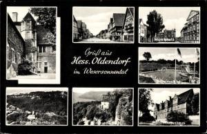 Ak Hessisch Oldendorf an der Weser, Münchhausen Hof, Markt, Schwimmbad, Schloss, Hohenstein