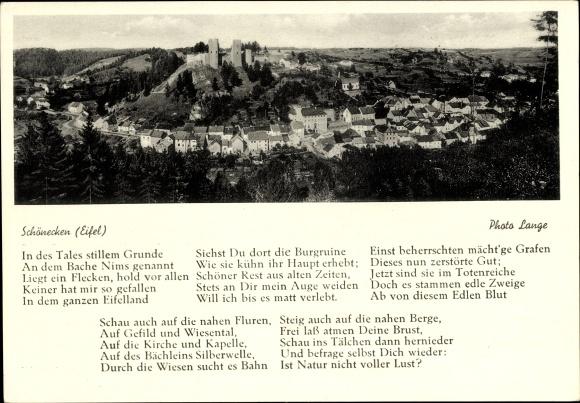 Gedicht Ak Schönecken in der Eifel, Gesamtansicht vom Ort mit Burg