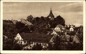 Ak Doksy Hirschberg am See Reg. Reichenberg, Teilansicht der Ortschaft, Kirchturm