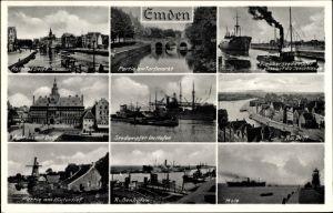 Ak Emden in Ostfriesland, Stadtansichten, Außenhafen, Hintertief, Rathaus, Torfmarkt