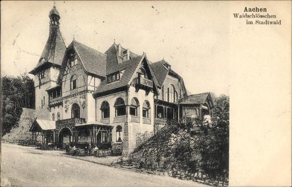 Ak Aachen in Nordrhein Westfalen, Waldschlösschen im Stadtwald, Straßenpartie