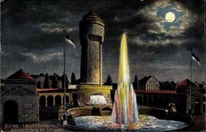 Ak Düren in Nordrhein Westfalen, Leuchtfontäne, Abendstimmung am Cölnplatz