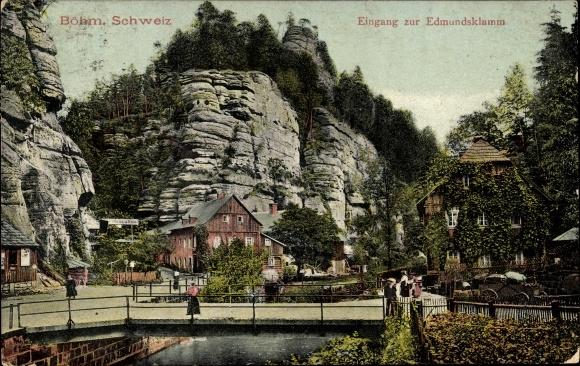 Ak Hřensko Herrnskretschen Elbe Reg. Aussig, Eingang zur Edmundsklamm, Böhmische Schweiz