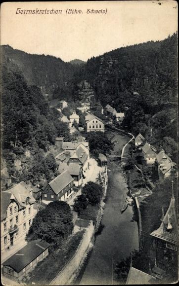 Ak Hřensko Herrnskretschen Elbe Reg. Aussig, Vogelschau auf den Ort