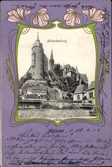 Passepartout Ak Meißen in Sachsen, Albrechtsburg, Wohnhäuser