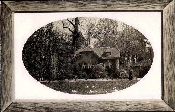 Präge Passepartout Ak Leipzig, Blick auf ein Haus im Scheibenholzpark
