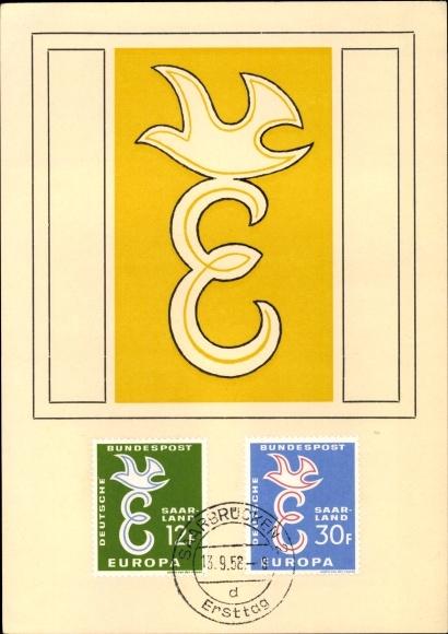 Briefmarken Ak Deutsche Bundespost Saarland Saarbrücken Ersttag