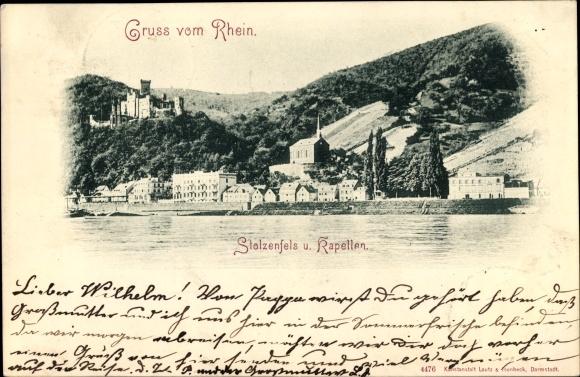 Ak Stolzenfels Koblenz in Rheinland Pfalz, Kapellen, Teilansicht vom Ort