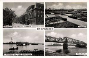 Ak Rheinhausen Duisburg Nordrhein Westfalen, Friedrich Alfred Straße, Volkspark, Rhein, Sparkasse