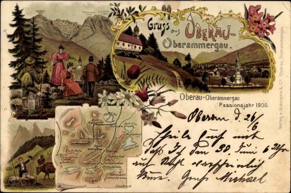 Landkarten Litho Oberau Oberammergau in Oberbayern, Zugspitze, Waxenstein, Wanderer
