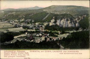 Ak Oybin in Sachsen, Oybintal mit Oybin, Lausche und Jonsberg, vom Scharfenstein aus