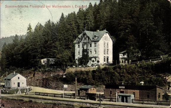 Ak Wolkenstein im Erzgebirge, Sommerfrische Flossplatz mit Bahnhof