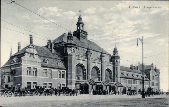 Ak Lübeck in Schleswig Holstein, Partie am Hauptbahnhof