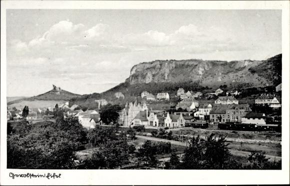 Ak Gerolstein in der Eifel Rheinland Pfalz, Teilansicht vom Ort, Felsen