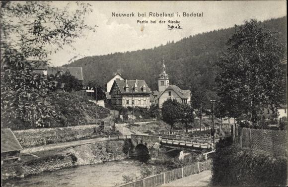 Ak Neuwerk Rübeland Oberharz am Brocken, Partie bei der Schule, Fluss, Brücke, Wald, Kirche