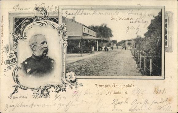 Ak Zeithain in Sachsen, Truppenübungsplatz, Senfft Straße, Portrait König Albert von Sachsen