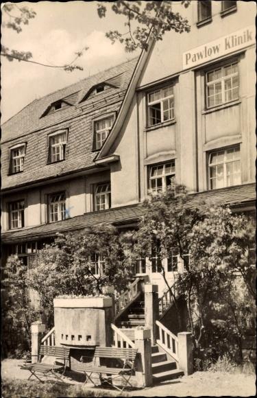 Ak Augustusburg im Erzgebirge, Aufgangstreppe zur Pawlow Klinik