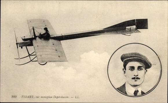 Ak Vidart, sur monoplan Deperdussin, Flugpionier, Pilot