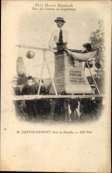 Ak Prix Henri Deutsch, Parc dex Coteaux de Longchamps, M. Santon Dumont dans sa Nacelle, Dirigéable
