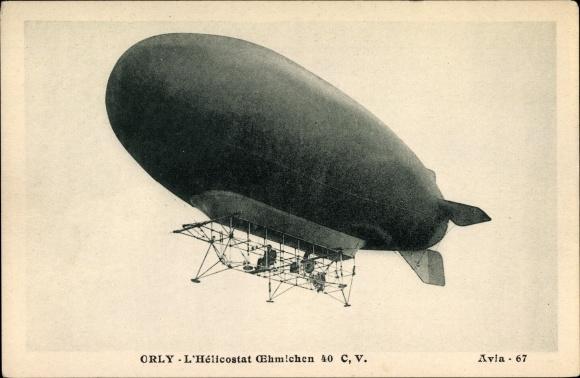 Ak Orly, Hélicostat Oehmichen, Luftschiff, Dirigéable, Französisches Luftschiff