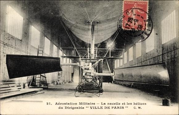 Ak Aérostation militaire, La nacelle et les hélices du Dirigéable Ville de Paris, Hangar
