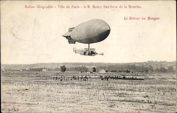 Ak Ballon Dirigéable Ville de Paris, M. Henry Deutsch de la Meurthe, Retour au Hangar