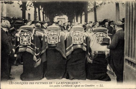 Ak Les Obsèques de Victimes du Dirigéable La République, Quatre Corbillards, Levy et Fils