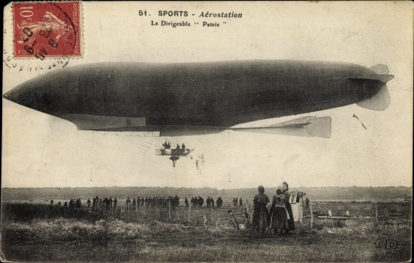 Ak Sports d'Aviation, Aérostation, Dirigéable Patrie, Französisches Luftschiff