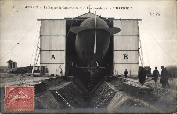 Ak Aerostation Militaire, le Hangar de Remisage du Dirigeable Patrie, Französisches Luftschiff