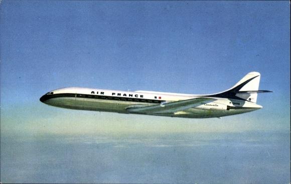 Ak Passagierflugzeug im Flug, Caravelle, Air France