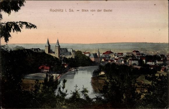 Ak Rochlitz an der Mulde, Blick von der Bastei, Flusspartie