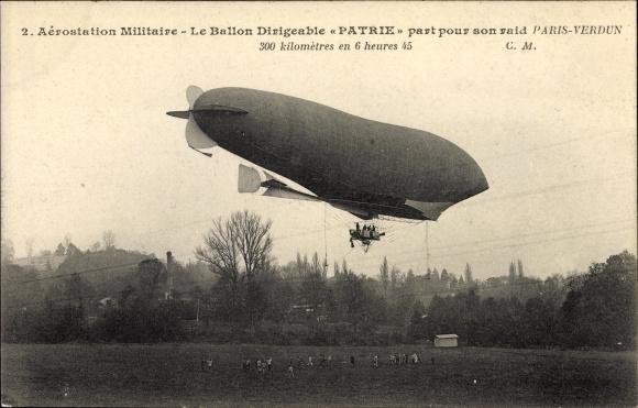 Ak Aérostation militaire, Ballon Dirigéable Patrie, Raid Paris Verdun, Französisches Luftschiff