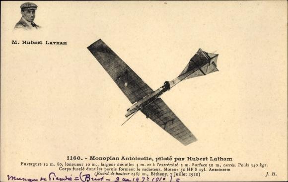 Ak Monoplan Antoinette, piloté par Hubert Latham, Flugpioniere