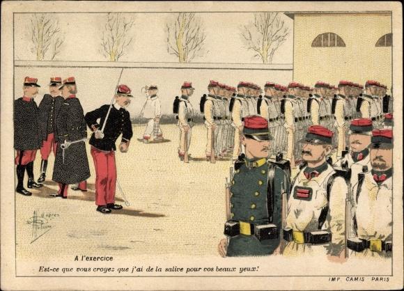 Künstler Ak A l'exercise, Französische Soldaten auf dem Exerzierplatz, Uniform, Ausrüstung