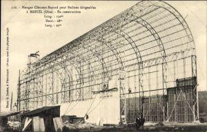 Ak Breuil Oise, Hangar Clement Bayard pour Ballons dirigeables, En construction