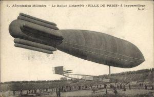 Ak Aérostation Militaire, Ballon Dirigéable Ville de Paris, Französisches Luftschiff