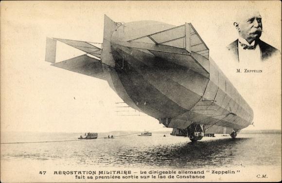 Ak Aérostation Militaire, Dirigéable allemand, Zeppelin, Constructeur