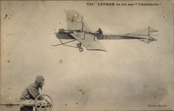 Ak Latham en vol sur l'Antoinette, Monoplan, Flugpionier