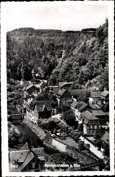 Foto Ak Hřensko Herrnskretschen Elbe Reg. Aussig, Vogelschau auf den Ort